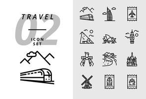 Ícono del paquete para el viaje, transporte en tren, Dubai, boleto aéreo, pirámide, ópera, Big Ben, mochilero, Gran Muralla, Taj Mahal, molino de viento, boleto de tren, boleto de barco.