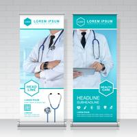 healthcare and medical roll up design, standee and banner template decoration for exhibition, printing, presentation and brochure flyer concept vector illustration