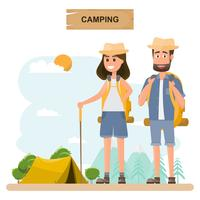 people travel. couple with backpack go to camping on a vacation