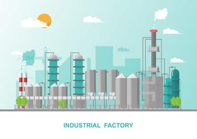Industrial factory in a flat style.Vector and illustration of manufacturing building vector