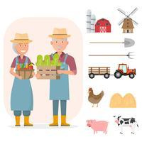 glückliche Landwirtfamilienzeichentrickfilm-figur im organischen ländlichen Bauernhof mit landwirtschaftlichen Geräten