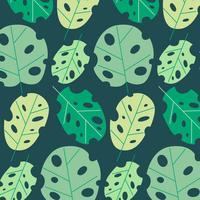 Vector Monstera Leaves Pattern