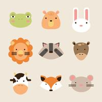 Colorful Flat Animal Faces
