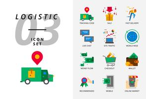 Icon pack for e-commerce, tracking code, sale, fast delivery, money flow, checkout, wallet, live chat, site traffic, world wide, mobile, online market. vector