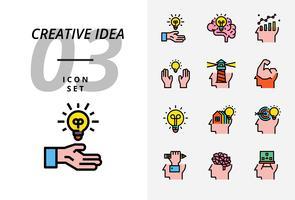 Ikonensatz für kreative Idee, Brainstorming, Idee, kreativ, Birne, Wissenschaft, Stift, Bleistift, Geschäft, Diagramm, Zuhause, Ziel, Darlehen, Schlüssel, Rakete, Gehirn.