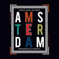 vettore di t-shirt tipografia città di amsterdam