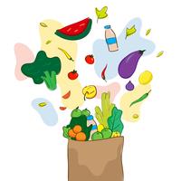 Illustration dessinée à la main des aliments sains