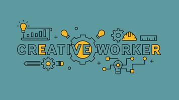 Creative worker typography and Illustration. Orange flat line design in blue background. Business and projects infographics with youthful doodle style