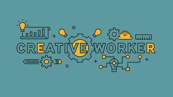 Tipografia de trabalhador criativo e ilustração. Design de linha plana laranja em fundo azul. Negócios e projetos infográficos com estilo jovem doodle