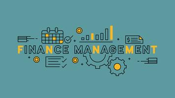 Finance Management Illustration. Orange flat line design in blue background. business and finance infographics with youthful doodle style