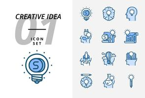 Icon pack for creative idea, Money, brainstorm, idea, creative, ecology, money, business paper, pilot, balloon, rocket, book, education.