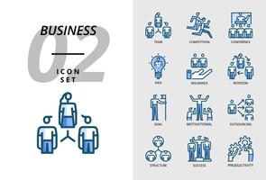 Icon pack for business, team, competition, conference, idea, insurance, rotation, goal, motivation, outsourcing, structure, success, productivity. vector