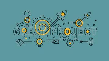 Grandes negócios e projetos. Design de linha plana laranja em fundo azul. Infografia de negócios com estilo jovem doodle