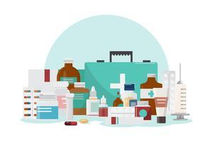 Set of medicine bottles, drugs and pills, pharmacy, drugstore