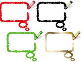 Set of four speech bubbles written with crayons, isolated on white background.