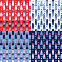 seamless red white blue lighthouse patterns