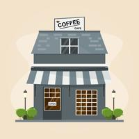 modern coffee shop building. Set of elements for construction on white background