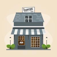 moderne coffeeshop gebouw. Set elementen voor de bouw op witte achtergrond