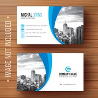 Blue shape visit card Free Vector