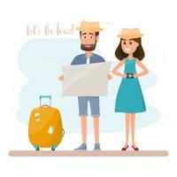 La gente viaja. pareja con bolsa para unas vacaciones