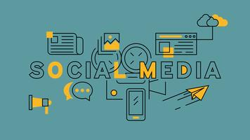 Social Media Orange In Blue Line Design. Illustrazione di concetto di marketing online. Digital Industries, Technology Business e Internet Theme Vector in Doodle Style. Banner giovanile