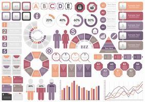 Conjunto de información de gráficos, etiquetas e iconos relacionados con el negocio, aislados sobre fondo blanco.