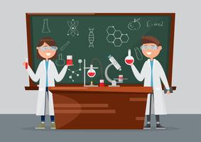 children in different characters. school research in chemistry and science. vector