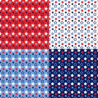 seamless red white blue stars patterns vector