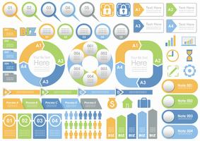 Set of assorted business-related info-graphics, tags, and icons isolated on white background.