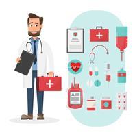 Satz Doktoren, die Kastenzeichen der ersten Hilfe mit medizinischen Elementen halten