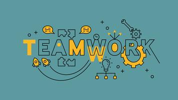 Teamwork, Teamplay, Cooperation Illustration. Orange flat line design in blue background. business infographics with youthful doodle style