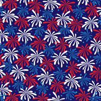 red white blue fireworks pattern with stars vector