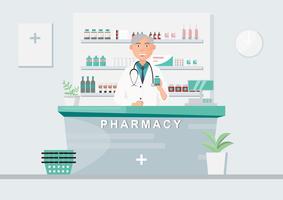 farmacia con medico in contatore. personaggio dei cartoni animati di farmacia