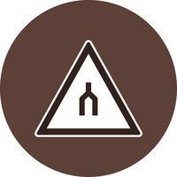 Vektor-zweispurige Straße endet Verkehrsschild-Symbol