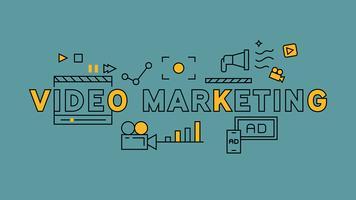 Typographie de marketing vidéo. Conception de ligne plate orange sur fond bleu. Infographie des affaires et du marketing avec un style de griffonnage jeune