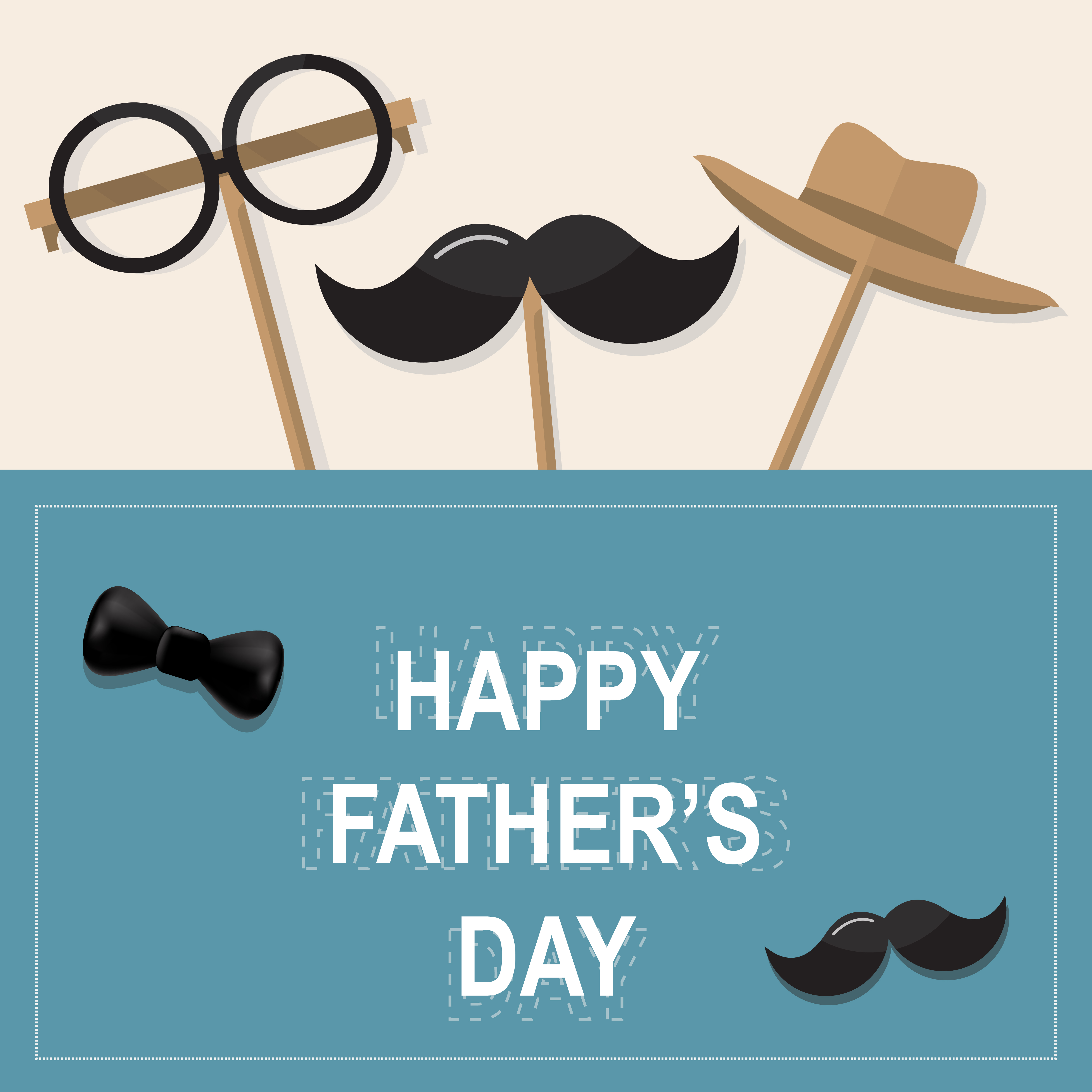 Happy Father's Day greeting card. Design with bow tie, mustache ...
