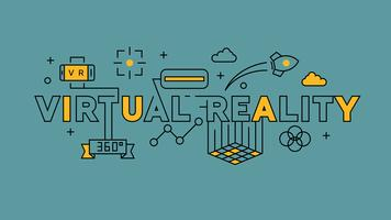 Virtual Reality Illustration. Orange flat line design in blue background. Technology infographics with youthful doodle style