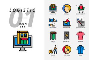 Icon pack for e-commerce, online shop, account, shopping cart, pay credit, promotion, sign contract, shop open, sale mobile, women cloth, cargo, customer, man cloth.