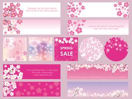 Set of assorted cherry blossom banners/frames/cards.