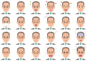 Businessman various expressions set.  vector