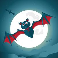Halloween night background with big bat under the moonlight.