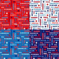 Patrón de tipografía 4 de julio azul blanco rojo