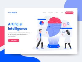 Landing page template of Artificial Intelligence Illustration Concept. Isometric flat design concept of web page design for website and mobile website.Vector illustration