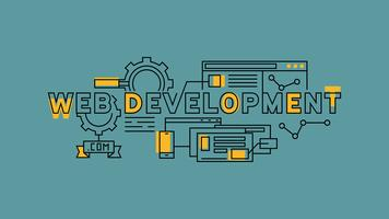 Desarrollo de sitios web, programación y diseño. Diseño de línea plana naranja en fondo azul. Infografía de negocios y tecnología con estilo de doodle juvenil