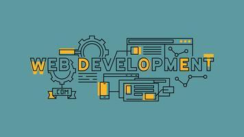 Webbplatsutveckling, programmering och design. Orange platta design i blå bakgrund. Business och teknik infographics med ungdommelig klotter stil