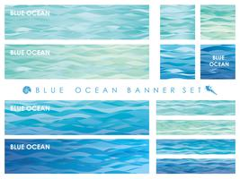 Set of assorted banners/cards with wave patterns.