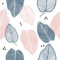 Floral seamless pattern of leaves in flat style.