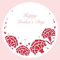 Round vector carnation frame with text space for Mother's Day.