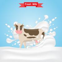 milk cow stand on fresh milk splash