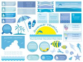 Set of assorted summer info-graphics, cards, and icons isolated on white background.